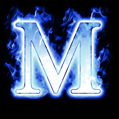 arder: Quema de carta con llamas Cold Blue - Ice llama alfabeto Foto de archivo