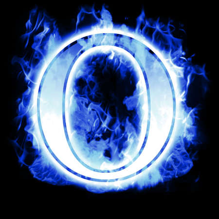 fervent: Burning Letter with Cold Blue flames - Ice Flame Alphabet