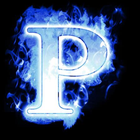 quemadura: Quema de carta con llamas Cold Blue - Ice llama alfabeto Foto de archivo