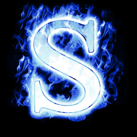 hot and cold: Burning Letter with Cold Blue flames - Ice Flame Alphabet