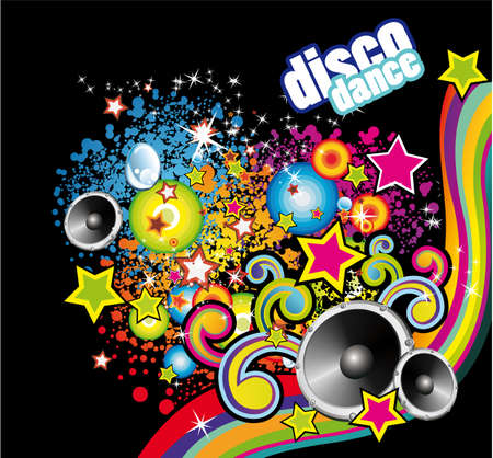 urban dance: Abstract Music and Disco Colorful Flyer Background