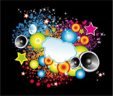 music design: De fondo con una explosi�n de colores con elementos de dise�o de m�sica Vectores