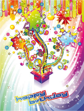 Happy Birthday Colorful Background with Abstract Flower and Fantasy Elements Illustration