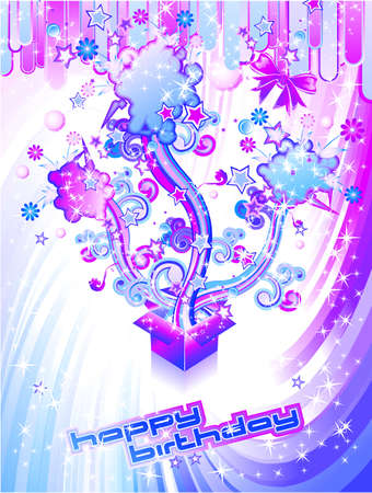 Happy Birthday Colorful Background with Abstract Flower and Fantasy Elements Vector