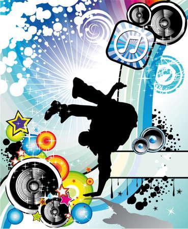 hip hop dancer: Extreme Break Dancing colorful Musical Event Background for Flyers