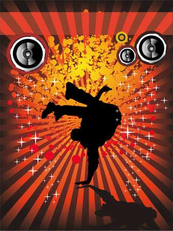 hip hop dance pose: Extreme break dancing colores de fondo de eventos musicales para Flyers