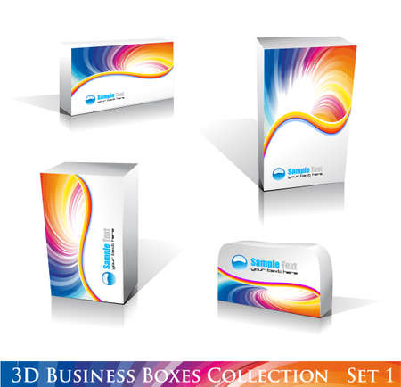 customize: Software or Generic Product 3D Boxes Icon set with reflections and shadows Illustration