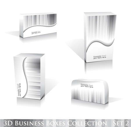 Software or Generic Product 3D Boxes Icon set with reflections and shadows Vector