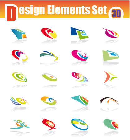 three dimensional: Three dimensional design elments with colorful shapes Illustration