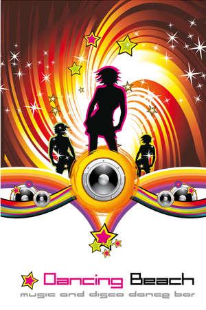 Frau Nigh Hintergrund für Disco Dance-Flyer  Illustration