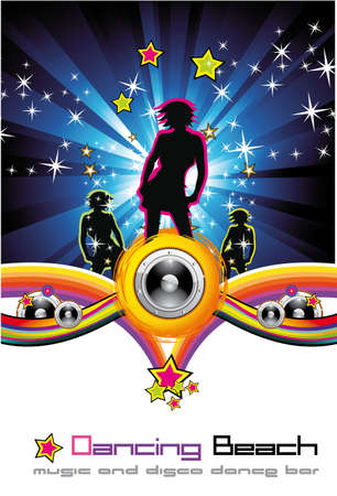 sings: Woman Nigh Background for Disco Dance Flyer