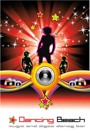 Colorful Musical Evet Background for Discoteque Flyers