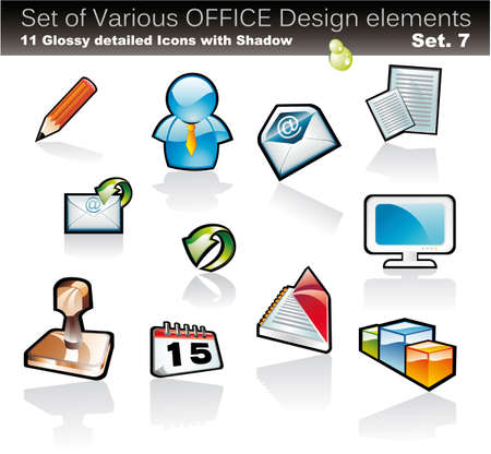 Set of Office Abstract Design Elements - Set 7 Vector