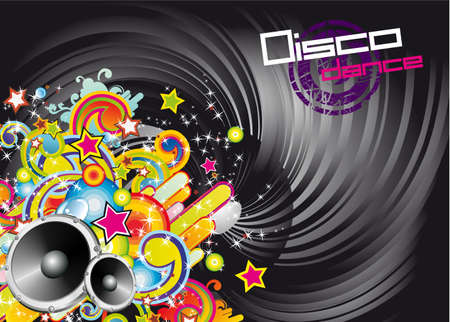 Disco Dance Colorful Background for Music Event Flyers Stock Vector - 5523668