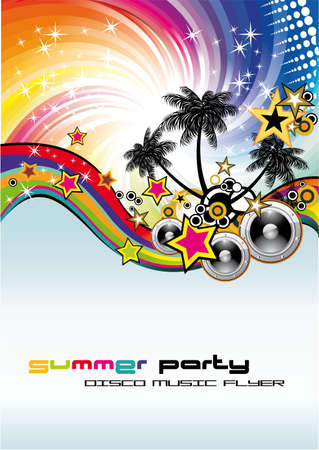 tropical frame: Disco Dance Tropical Music Flyer with colorful background Illustration
