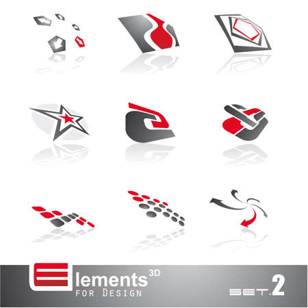 Elements for Design - 9 Abstract 3D Pieces - Set 2 Stock Vector - 5523641