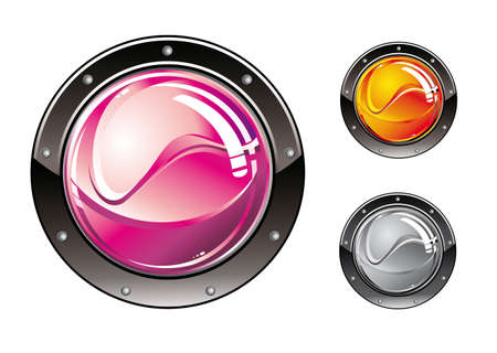 Colorful Glossy Futuristic High Tech style buttons Vector