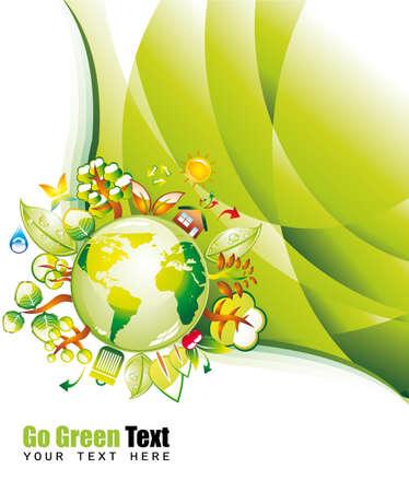 Ecología Verde Environmen de fondo con Eco Tierra Ilustración