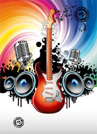resonancia: Fondo de eventos de m�sica con una colorida guitarra el�ctrica