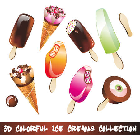 ice cream glass: Colorful Ice Cream Icons Collection with 8 pieces