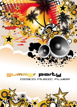 discoteque: Disco Dance Tropical Music Flyer with colorful background Illustration