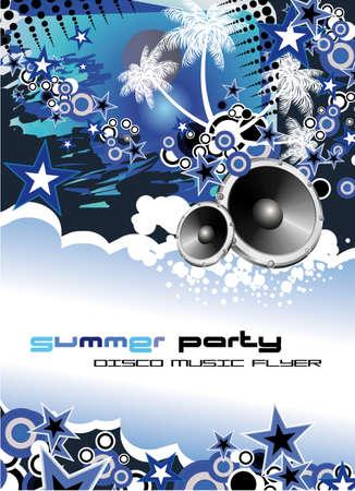 flyer musique: Danse disco musique tropicale Flyer avec arri�re-plan color�  Illustration