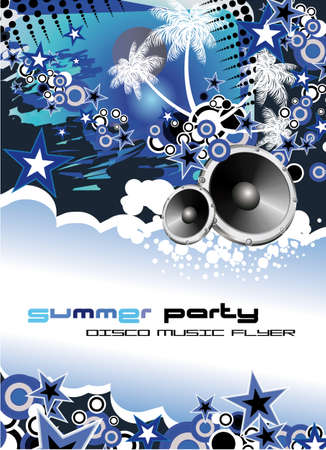 Disco Dance Tropical Music Flyer with colorful background Stock Vector - 5523714