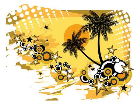 flyer musique: Disco Dance Tropical Music Flyer avec un fond color� Illustration