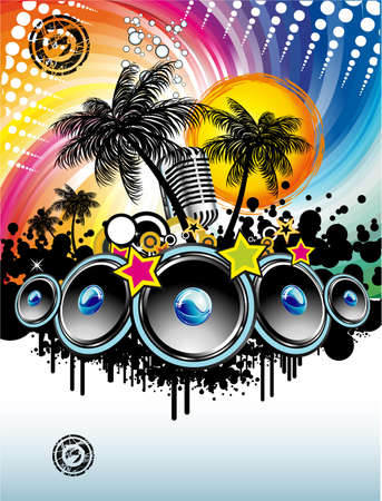 abstract dance: Disco Dance Tropical Music Flyer with colorful background Illustration