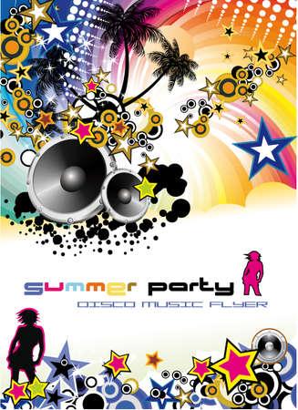 flyer musique: Danse disco musique tropicale circulaire avec arri�re-plan color�