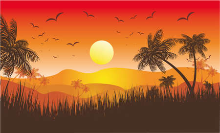 Landscape of Tropical Sunset with Palms and flying birds