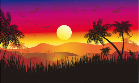Landscape of Tropical Sunset with Palms and flying birds Vector