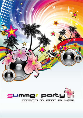 nightclub party: Colorful Summer Tropical Flower Musical Background for flyers Illustration