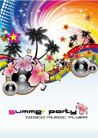 fiestas discoteca: Colorido de verano de flores tropicales de fondo musical para volantes