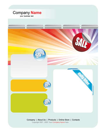 Colorful Web Site Sales Template Stock Vector - 5523639