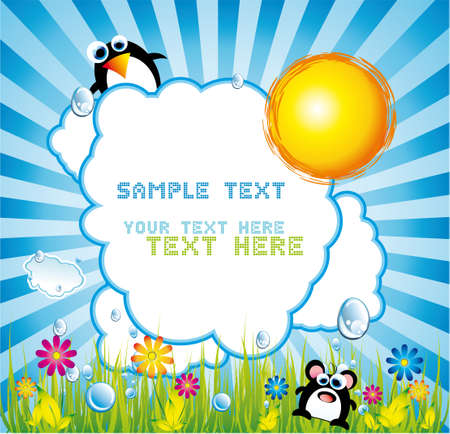 Colorful Summer Poster with place for text and funny design elements
