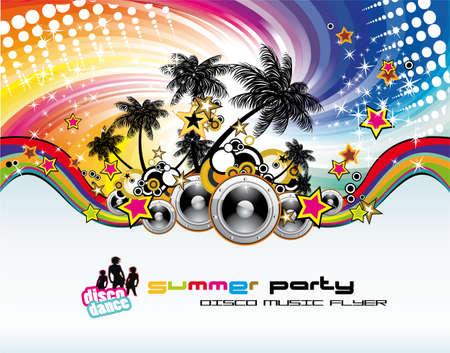 fiestas discoteca: Disco Dance M�sica Tropical Flyer con fondo de colores