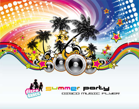 beach ball girl: Disco Dance Tropical Music Flyer with colorful background Illustration