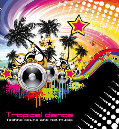 Abstract Colorful detailed Disco Tropical Dancing Background Stock Vector - 5523749