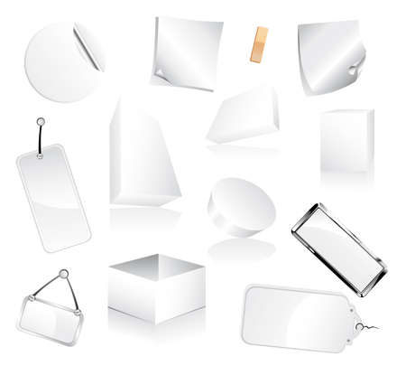 paper tags: Collection of 2Dand 3D White Boxes and Paper tags