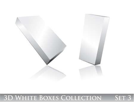 noname: Three dimensional Boxes Icon set with reflection and shadows