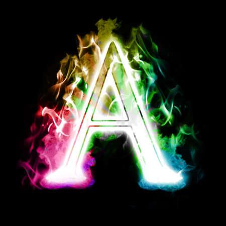 ardent: Lettera Burning con Colorful Rainbow vero fiamme e fumo Archivio Fotografico