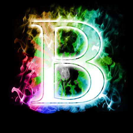 flamboyant: Burning Brief met kleurrijke Rainbow echte vlammen en rook Stockfoto