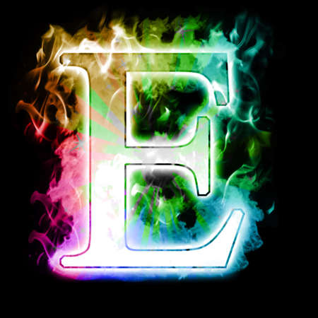 engulfed: Burning Letter with Colorful Rainbow true flames and smoke