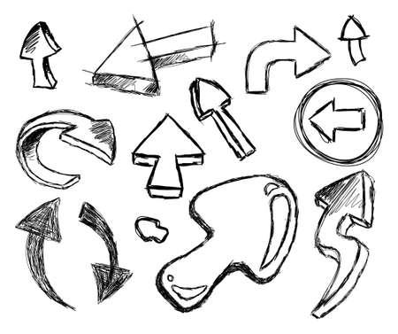 freccia destra: Stile 3D divertente collezione di Hand Made Sketch Arrows Vettoriali
