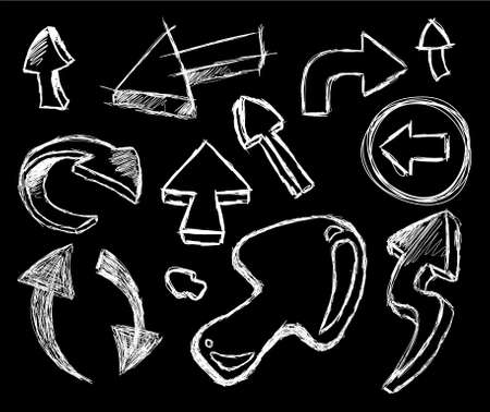 Funny 3D style Collection of Hand Made Sketch Arrows Set 2 on Black