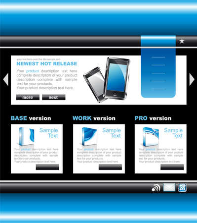 home product: Blue Technology website template with software boxes and icons.