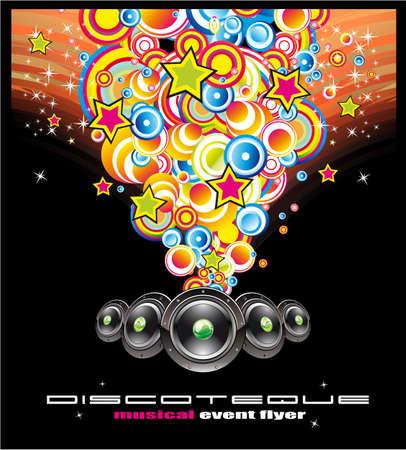 Colorful Bubbles Music Event Flyer Vector