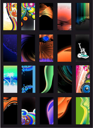 Colorful Abstract, Business, Music and Fantasy Background Card Collection Black Version - Set 2 Vector