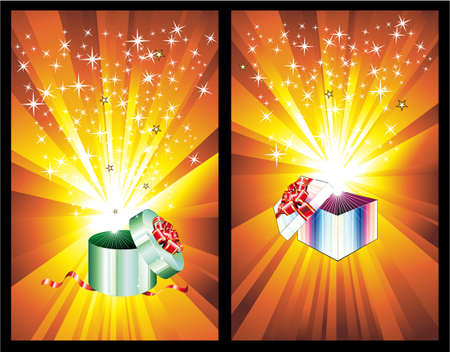 Three Dimensional Colorful Decorated Gift Box with an explosion of ray lights Vector